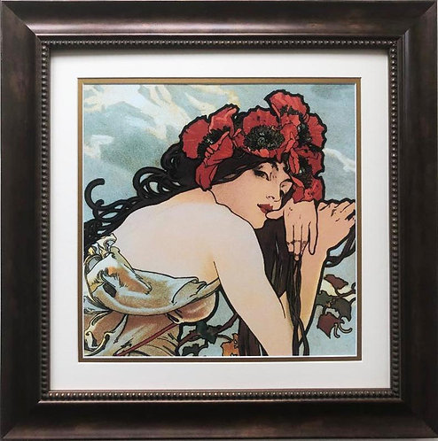 "Alphonse Mucha ""The Seasons:Summer"" 1896 (detail) CUSTOM FRAMED ART"