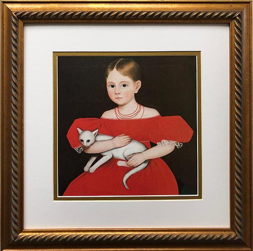 "Ammi Phillips ""Girl in a Red Dress with Cat"" Framed Art Print"