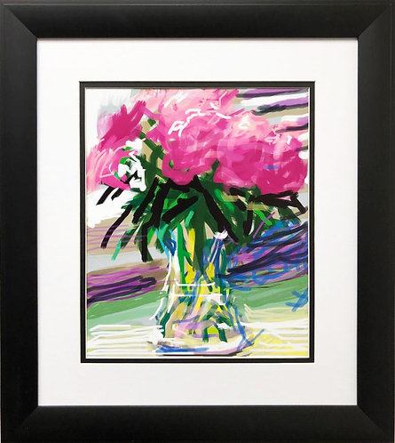 "David Hockney ""Pink Flowers"" Pop NEW FRAMED ART"