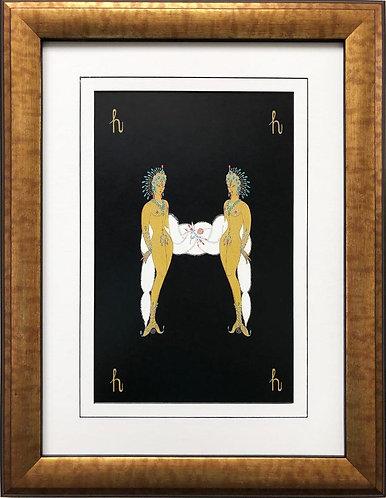 "Erte ""H"" CUSTOM FRAMED Vintage Print Art Deco Alphabet Letter Suite"