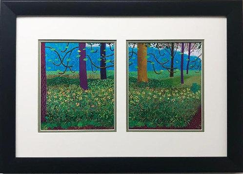 """David Hockney """"Under the Trees, Bigger"""" Custom Framed Art"""