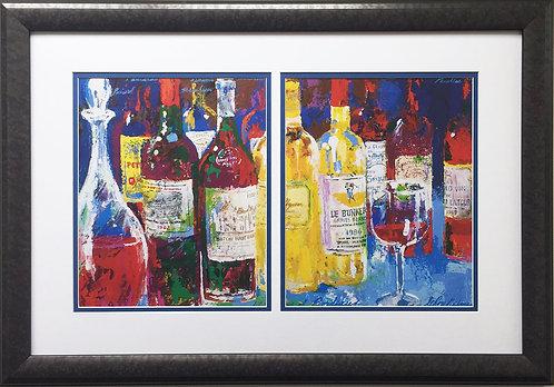 """LeRoy Neiman """"Bordeaux Still Life - Le Bunker"""" Custom FRAMED Art Print GOLF WINE"""