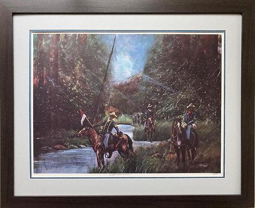 """Ted Ellis """"Buffalo Soldier on Patrol"""" FRAMED Signed & # Art"""