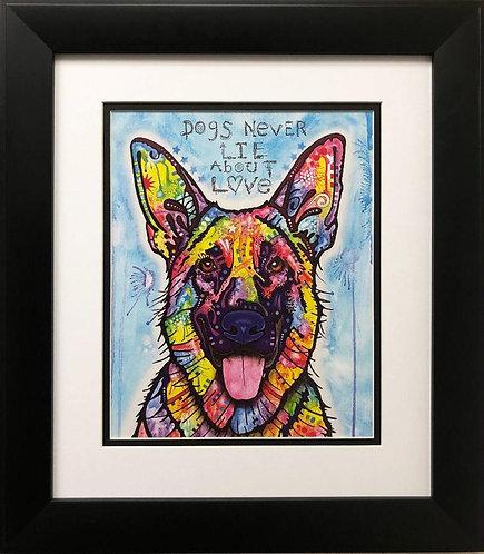 """Dean Russo """"Dogs Never Lie About Love"""" FRAMED Pop Art"""