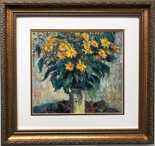 "Claude Monet ""Jerusalem Artichoke Flowers 1880"" CUSTOM FRAMED Art"