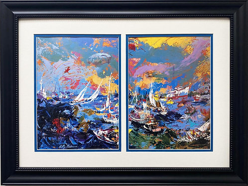 "LeRoy Neiman ""Spectator Fleet, America's Cup"" FRAMED Art Print"