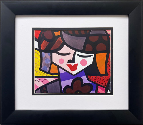 """Romero Britto """"From Madrid"""" FRAMED Plate Signed Pop Art"""