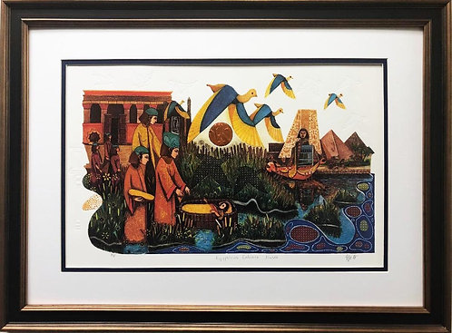 "Amram Ebgi ""Egyptians Embrace Moses"" Hand Signed & # Lithograph with Intaglio"