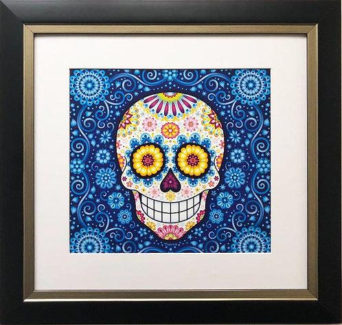 """Thaneeya McArdle """"Rhapsody in Blue"""" Sugar Skull Framed Art"""
