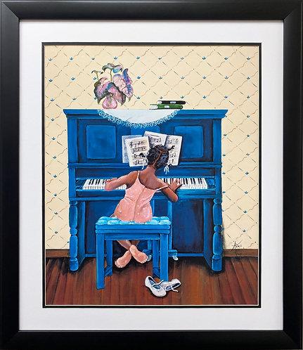"Annie Lee ""Rhapsody in A Minor"" Custom FRAMED African American ART Black Piano"