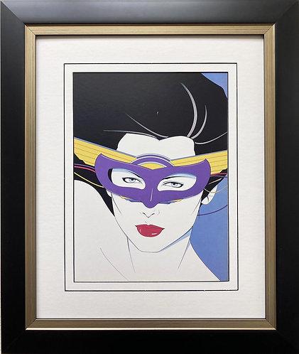 """Patrick Nagel """"Mask"""" NEW CUSTOM FRAMED Art Deco Print"""
