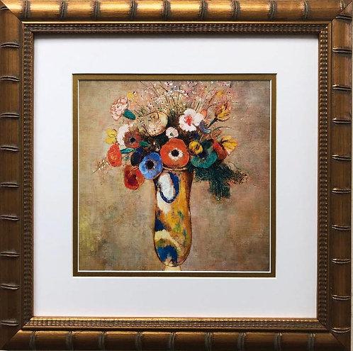 """Odilon Redon """"Wildflowers in Long Necked Vase"""" Custom Framed Art Print"""