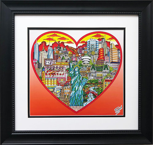 "Charles Fazzino ""Liberty Stands Tall in the Heart of NYC"" Framed Art PRINT"