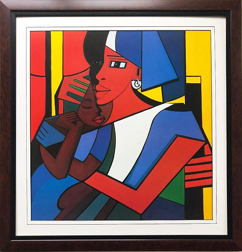"""Jonas Allen """"Because I Love You"""" Plate Signed FRAMED African American Art"""
