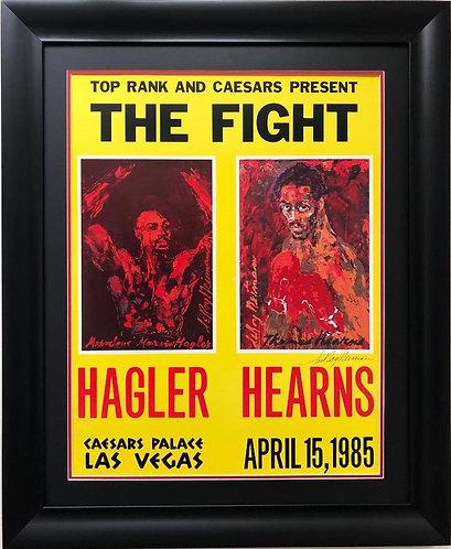 "LeRoy Neiman ""Hagler vs. Hearns"" Signed Framed Art Lithograph"