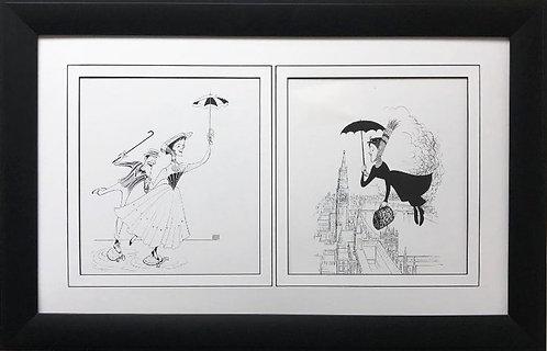 "Al Hirschfeld ""Mary Poppins"" CUSTOM FRAMED Decorative ART Print"