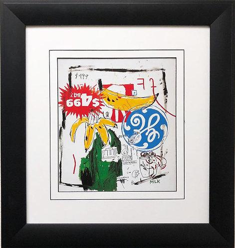 "Jean Michel Basquiat ""Bananas"" 1984 w/ Warhol FRAMED Pop Art"