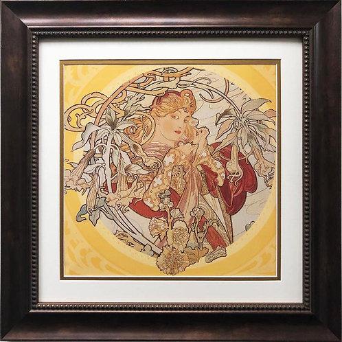 "Alphonse Mucha ""Woman with a Daisy"" 1900 (detail) CUSTOM FRAMED ART"