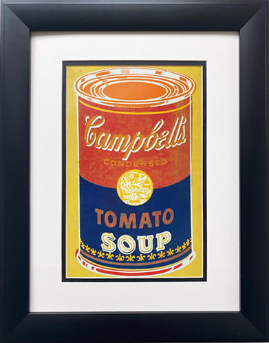 """Andy Warhol """"Campbell's Soup Can"""" (yellow/blue) CUSTOM FRAMED Pop Art"""