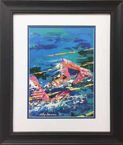 "LeRoy Neiman ""Tank Men"" Newly Custom FRAMED ART PRINT Swimming Olympics Phelps"