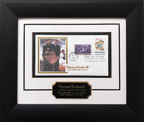 """Norman Rockwell """"Bottom of the 6th"""" Stamp Limited Edition Framed Art"""