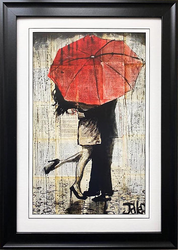 "Loui Jover ""The Red Umbrella"" CUSTOM FRAMED Art"
