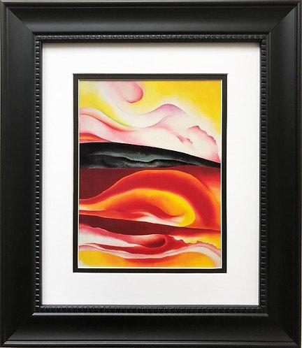 """Georgia O'Keeffe """"Red, Yellow and Black Streak"""" Art Print Custom Framed"""