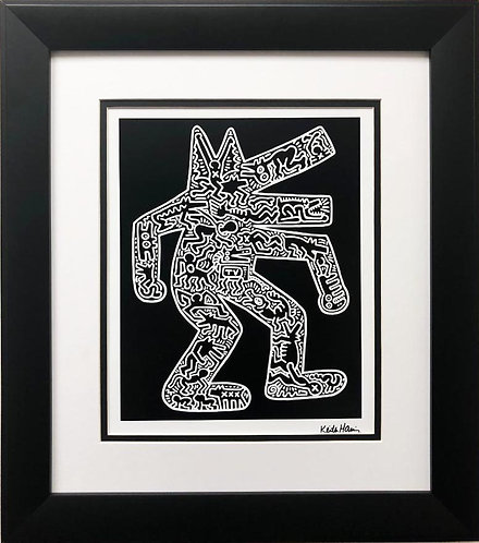 "Keith Haring ""Dog"" CUSTOM FRAMED Plate Signed Offset Lithograph"