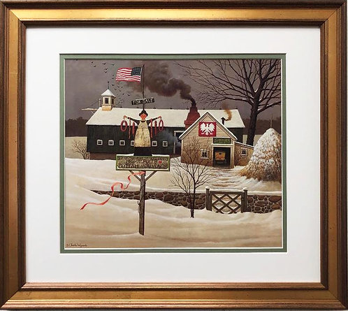 "Charles Wysocki ""Our Lady of Sausages"" New CUSTOM FRAMED Americana Art"