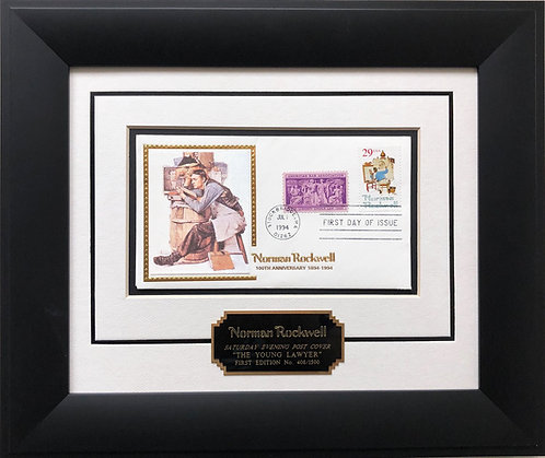 "Norman Rockwell ""TheYoung Lawyer"" First Day Issue Stamp Limited Edition Framed A"