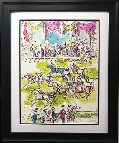 "Charles Cobelle ""Horse Race"" FRAMED New Art Hand Signed"