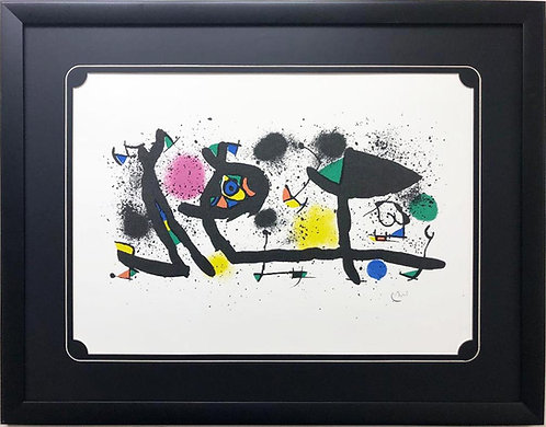 "Miro ""Pictures"" Rare Custom Framed Abstract Art Plate Signed"