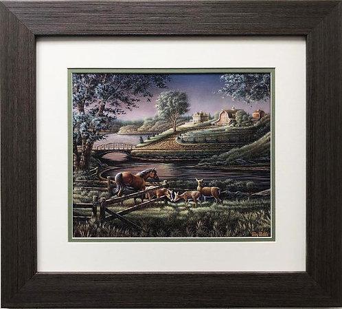"Terry Redlin ""Natural Curiosity"" CUSTOM FRAMED Rural American Art"