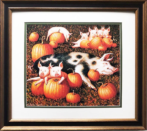 "Charles Wysocki ""Porkers Playing in a Pumpkin Patch"" New CUSTOM FRAMED Art"