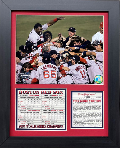 """Baseball """"BOSTON RED SOX 2004- ONCE CURSED, NOW FIRST! """" Framed Art"""