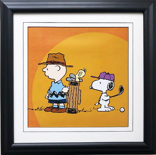"Charles Schulz Peanuts ""Charlie Brown & Snoopy Golfing"" NEW CUSTOM FRAMED ART"