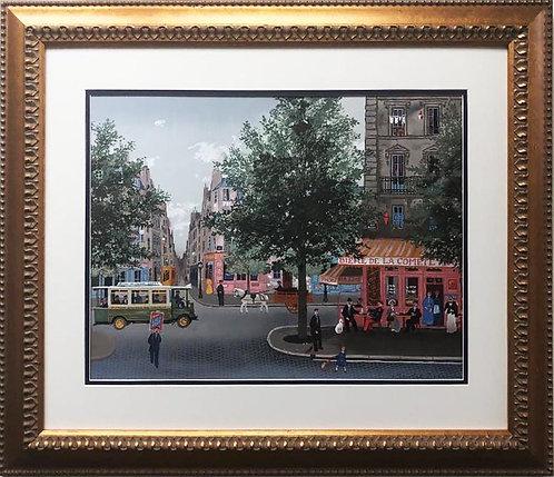 """Michel Delacroix """"Autobus"""" Framed Lithograph Art"""