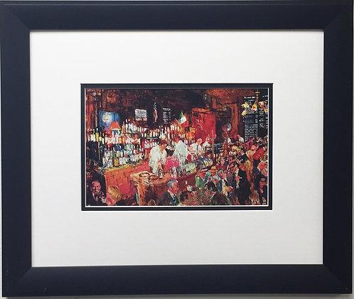 "LeRoy Neiman ""P.J. Clarke's"" Newly CUSTOM FRAMED Art Print Sinatra Richard Nixon"
