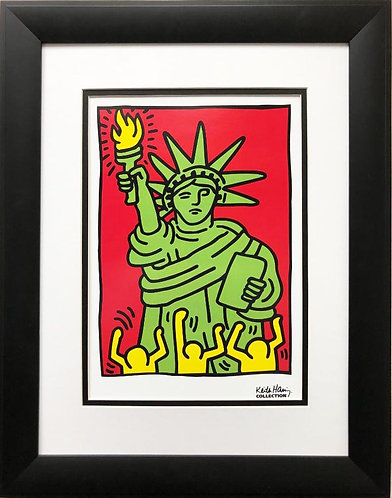 """Keith Haring """"Statue of Liberty, 1986"""" (small) CUSTOM FRAMED Art Lithograph"""