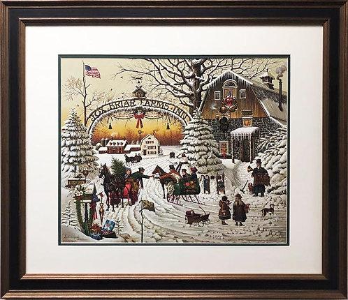"Charles Wysocki ""Christmas Greeting"" CUSTOM FRAMED Hand Signed Art"