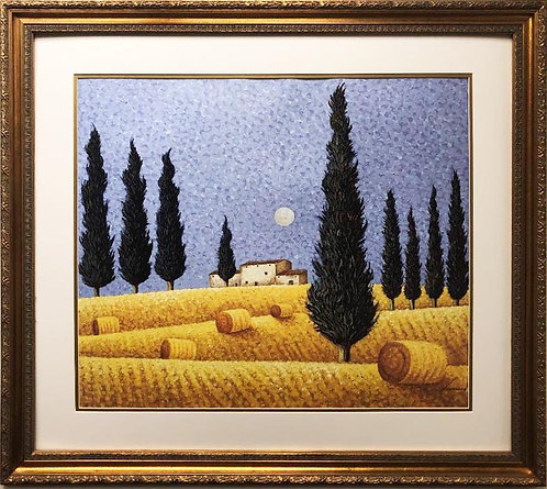 "Lowell Herrero ""Cypress and Hay"" New CUSTOM FRAMED Art"