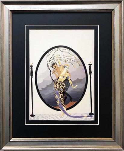 "Erte ""Woman and Satyr"" New CUSTOM FRAMED Print"