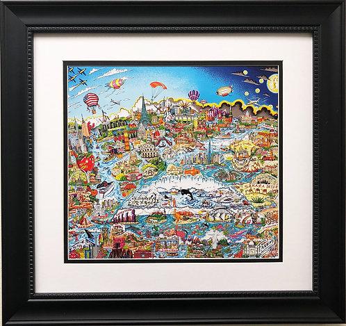 "Charles Fazzino ""What A Wonderful World"" Custom Framed Pop Art Print"