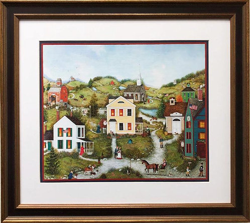 "Linda Nelson Stocks ""Old Dog Livery"" FRAMED Art"
