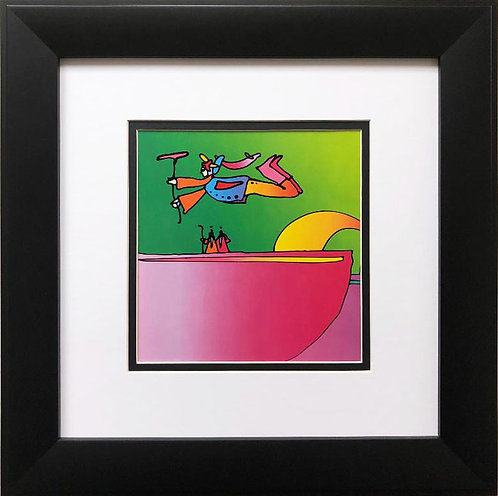 """Peter Max """"Flower Flyer and Two Sages"""" New FRAMED Art"""