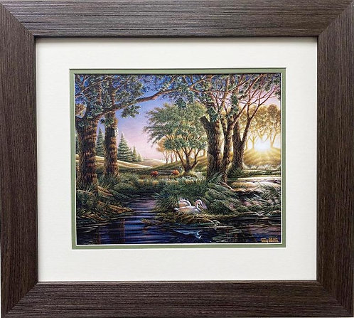"Terry Redlin ""Morning on Greens"" CUSTOM FRAMED Rural America Art Print"