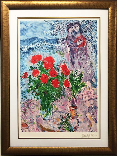 "Marc Chagall ""Red Bouquet with Lovers"" Custom Framed Art 21 Color Stone Litho"