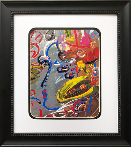 """Peter Max """"Abstract Series: Profile """" CUSTOM FRAMED Print Art POP psychedelic"""