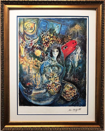 "Marc Chagall ""Bella"" Custom Framed Art Limited Edition Offset Lithograph"
