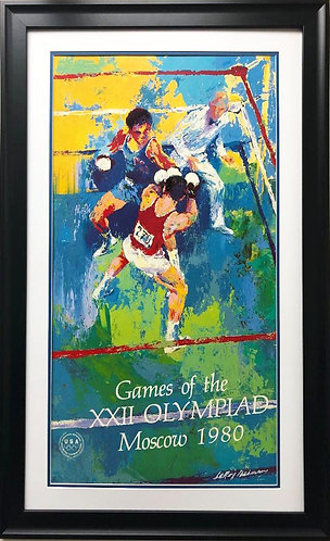 "LeRoy Neiman ""Games of the XXII Olympiad"" Moscow 1980 CUSTOM FRAMED Art"
